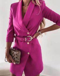 Стилна дамска рокля в цвят циклама - код 9257