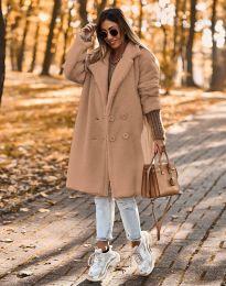 Пухкаво дамско палто в капучино - код 8988
