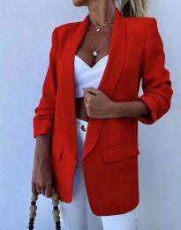 Елегантно дълго дамско сако в червено - код 4566