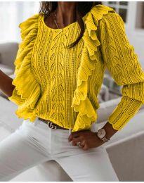 Дамски пуловер в жълто - код 9087