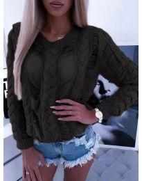 Ефектна плетена блуза в черно - код 363
