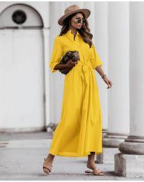 Изчистена рокля в жълто - код 0900