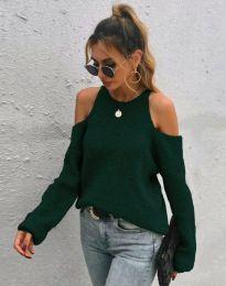 Дамски пуловер с голи рамене в масленозелено - код 3165