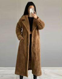 Дълго дамско палто в кафяво - код 0465