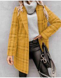 Дамско палто в цвят горчица - код 6333