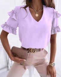 Дамска блуза в светлолилаво с къдрички - код 2670