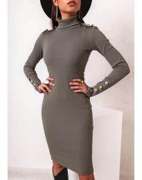 Вталена дамска рокля в масленозелено - код 11513