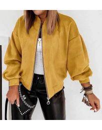 Дамско късо яке в цвят горчица  - код 7745