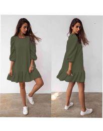 Свободна дамска рокля в маслено зелено - код 784