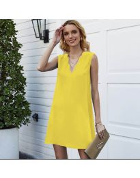 Свободна изчистена рокля в жълто - код 1429
