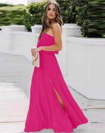 Дамска рокля в цвят циклама с цепка - код 8871