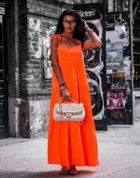 Свободна дълга рокля в оранжево - код 2301