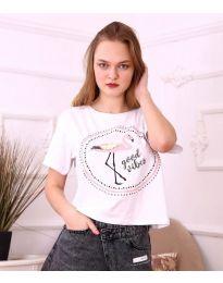 Бяла дамска тениска с принт фламинго - код 3546