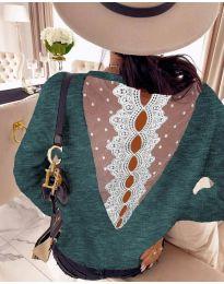 Дамска блуза с дантела в зелено - код 7077