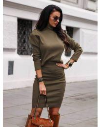 Комплект от пола и блуза в маслено зелено - код 151