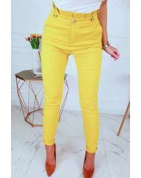 Дамски елегантен панталон в жълто - код 964