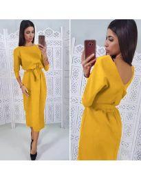 Елегантна рокля в цвят горчица - код 974