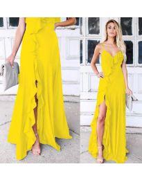 Дълга рокля с цепка в жълто - код 4488