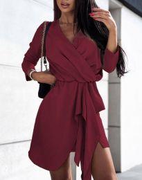 Дамска рокля в цвят бордо - код 2879