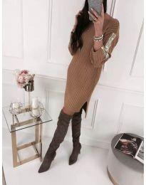 Кафява дамска рокля с ефектни ръкави - код 183