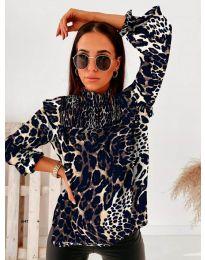 Дамска блуза с атрактивен десен и къдрички - код 496 - 7