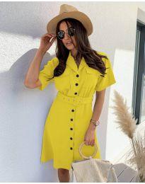 Елегантна рокля в жълто - код 742