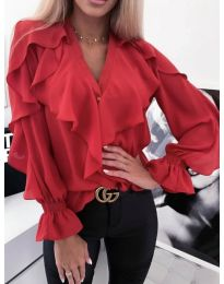 Ефектна блуза с къдрички в червено - код 300