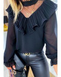 Черна дамска блуза с интересно деколте - код 013