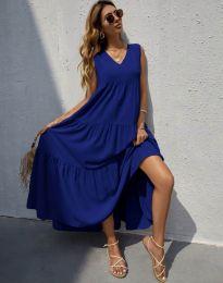 Свободна дълга рокля в тъмносиньо - код 8149