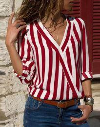 Дамска риза в червено райе - код 5633