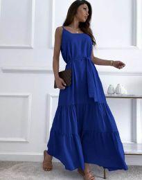 Дълга дамска рокля в тъмносиньо - код 2578