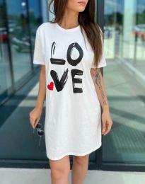 Дамска рокля с ефектен принт в бяло - код 11887