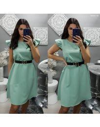 Елегантна рокля с къс ръкав в тюркоаз - код 703