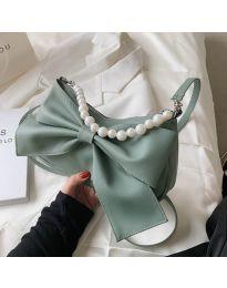Атрактивна дамска чанта с панделка в цвят мента - код B527
