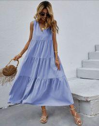 Свободна дълга рокля в светлосиньо - код 8149