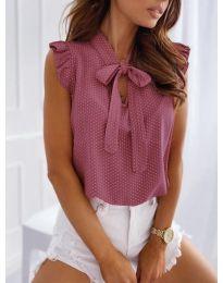 Елегантна блуза с къс ръкав в розово - код 300