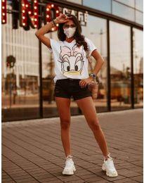 Тениска с принт в бяло - код 4088