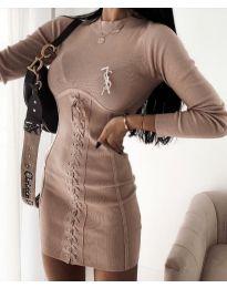 Елегантна дамска рокля в бежово - код 4453