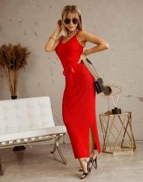 Дълга дамска рокля в червено с панделка - код 6166