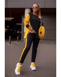 Дамски комплект в черно и жълто - код -281