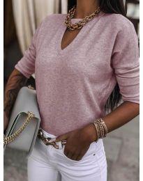 Изчистена дамска блуза в розово - код 8059