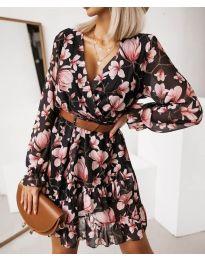 Черна феерична рокля на цветя - код 291