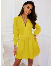 Кокетна рокля в цвят горчица - код 089