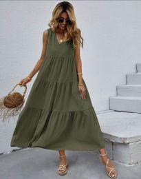 Свободна дълга рокля в масленозелено - код 8149