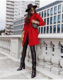 Дамско палто с колан в червено - код 3839