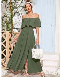 Дълга дамска рокля в маслено зелено - код 698