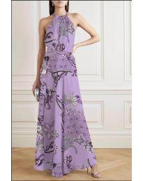 Дълга рокля с атрактивен десен в лилаво - код 2268