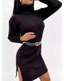 Дамска рокля с поло яка в черно - код 6867