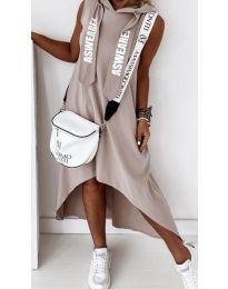 Свободна дамска рокля в бежово - код 837