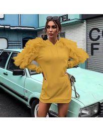 Ефектна дамска рокля в цвят  горчица - код 6383